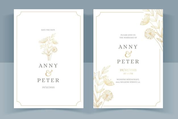 Plantilla de invitación de boda dorada dibujada a mano