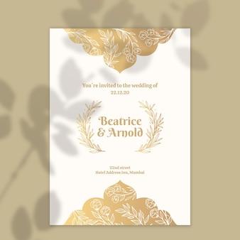 Plantilla de invitación de boda dorada