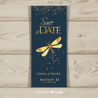 Plantilla de invitación de boda elegante en acuarela