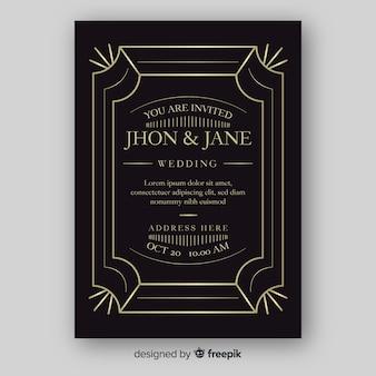 Plantilla de invitación de boda elegante con adornos