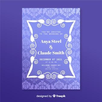 Plantilla de invitación de boda en elegante damasco