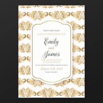 Plantilla de invitación de boda elegante damasco