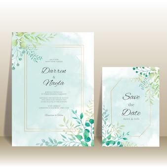 Plantilla de invitación de boda elegante con decoración floral