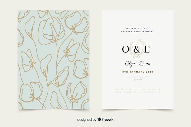 Plantilla de invitación de boda elegante dibujado a mano