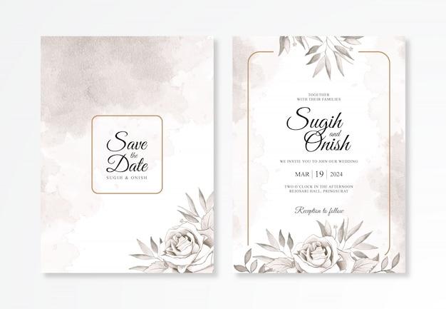 Plantilla de invitación de boda elegante con flor de acuarela
