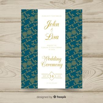 Plantilla de invitación de boda elegante y floral