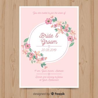 Plantilla de invitación de boda elegante de flores