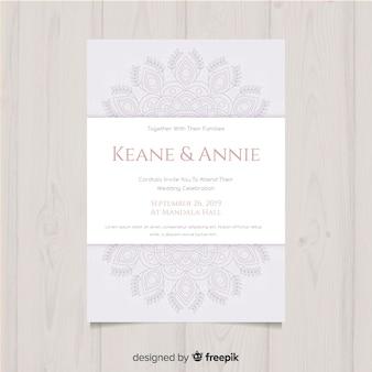 Plantilla de invitación de boda elegante con flores