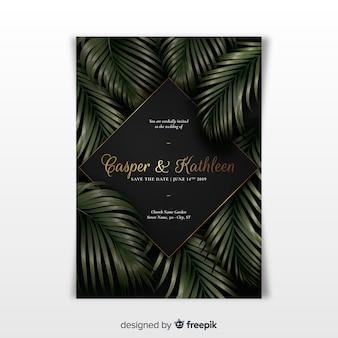 Plantilla de invitación de boda elegante con hojas tropicales