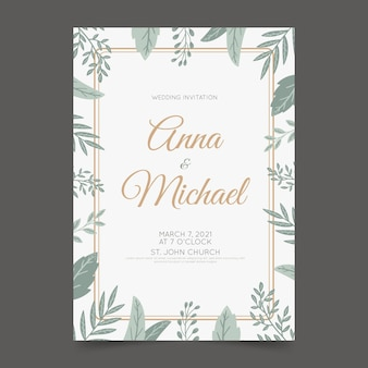 Plantilla de invitación de boda elegante con hojas