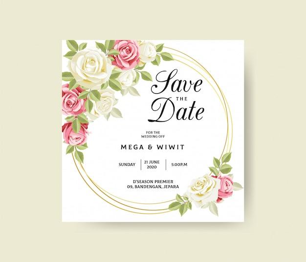 Plantilla de invitación de boda con elegante marco floral