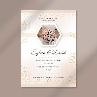 Plantilla de invitación de boda elegante