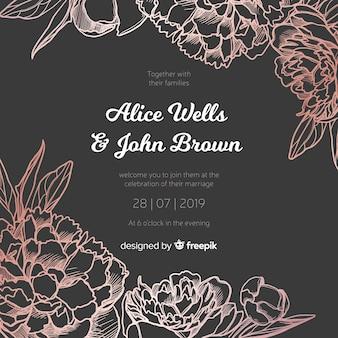 Plantilla de invitación de boda con elegantes flores peonía