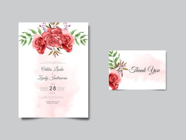Plantilla de invitación de boda con elegantes rosas dibujadas a mano
