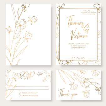 Plantilla de invitación de boda con elementos decorativos dorados.