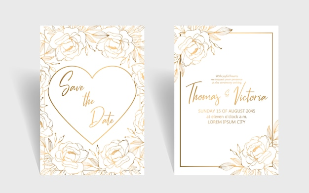Plantilla de invitación de boda con elementos decorativos dorados