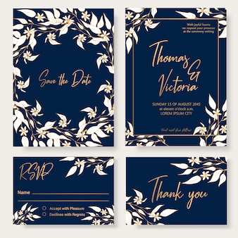 Plantilla de invitación de boda con elementos decorativos florales.