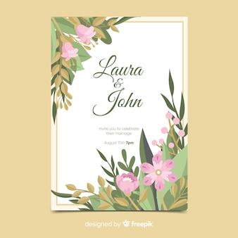 Plantilla de invitación de boda con elementos florales