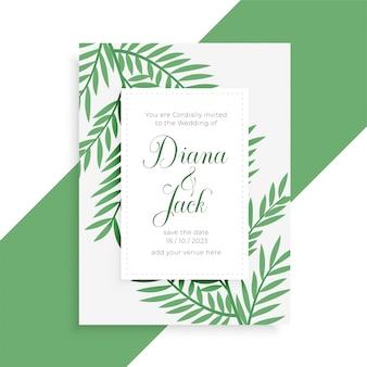 Plantilla de invitación de boda estilo hojas