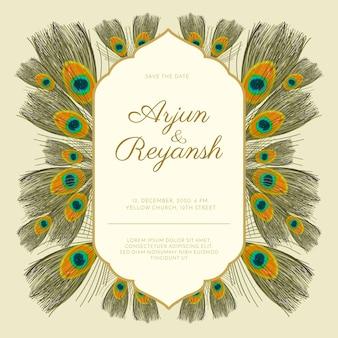 Plantilla de invitación de boda estilo de plumas de pavo real