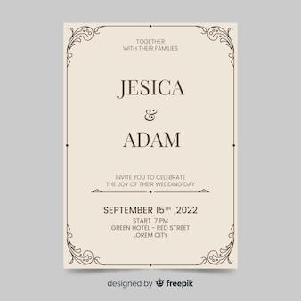 Plantilla de invitación de boda estilo retro