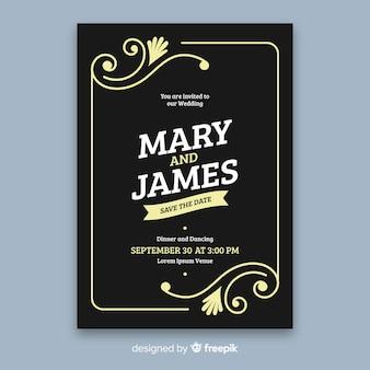 Plantilla de invitación de boda en estilo retro