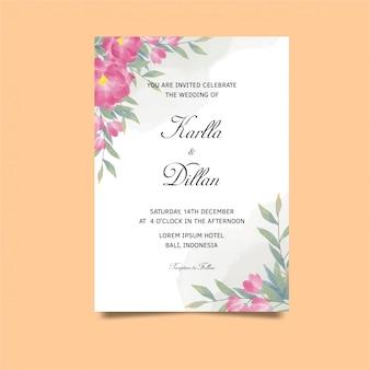 Plantilla de invitación de boda estilo tulipán acuarela