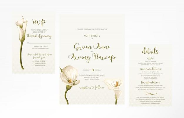 Plantilla de invitación de boda femenina simple y minimalista