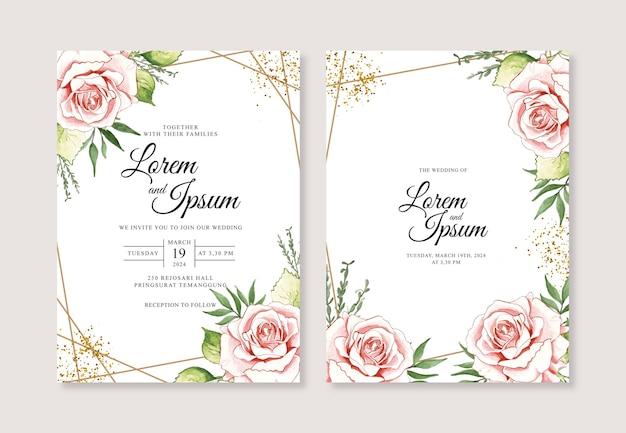 Plantilla de invitación de boda con flor de acuarela