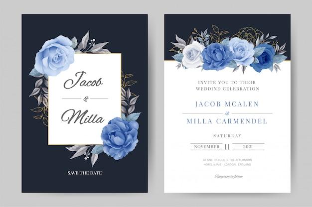 Plantilla de invitación de boda de flor azul acuarela. ramo de rosas y peonía flora con hojas doradas.