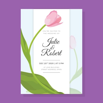Plantilla de invitación de boda flor grande