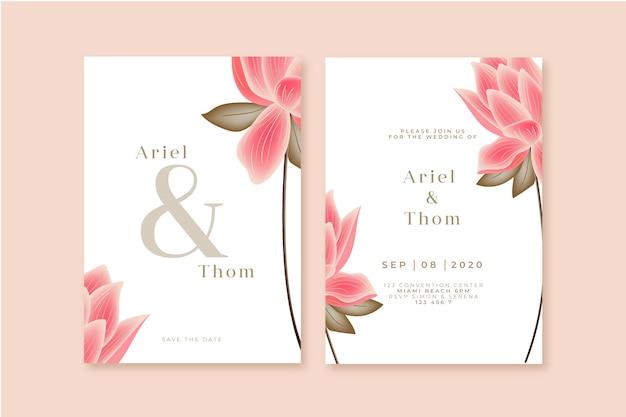 Plantilla de invitación de boda con una flor grande