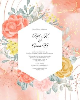 Plantilla de invitación de boda con flor y licencia.