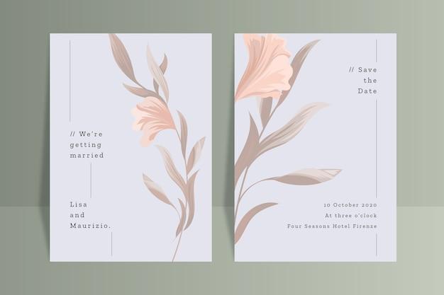 Plantilla de invitación de boda con flor