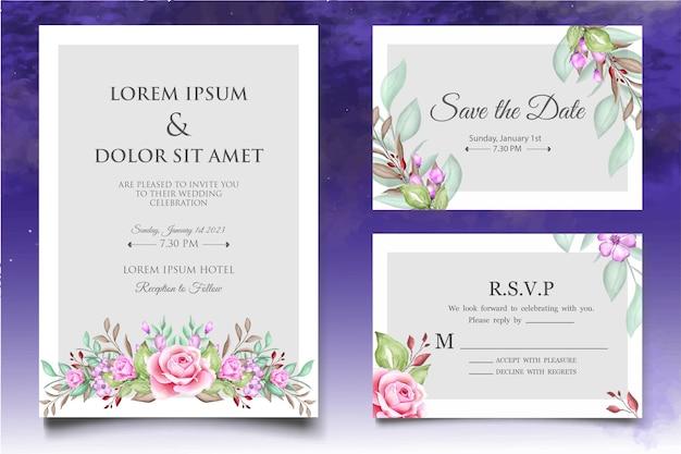 Plantilla de invitación de boda floral en acuarela con hermosas flores