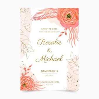 Plantilla de invitación de boda floral acuarela pintada a mano