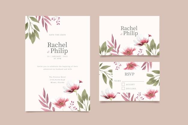 Plantilla de invitación de boda floral acuarela pintada a mano vector gratuito