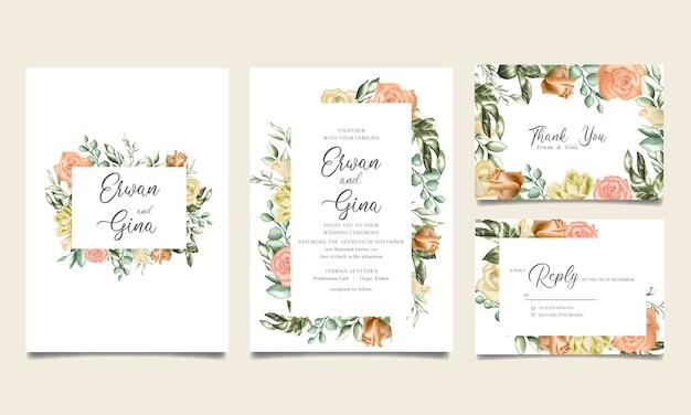Plantilla de invitación de boda floral acuarela
