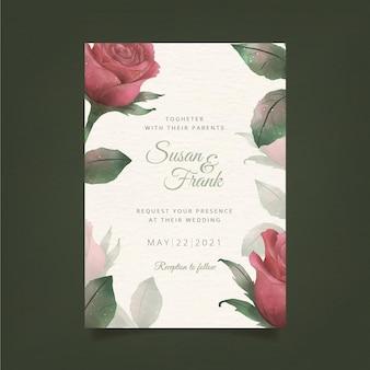 Plantilla de invitación de boda floral en acuarela