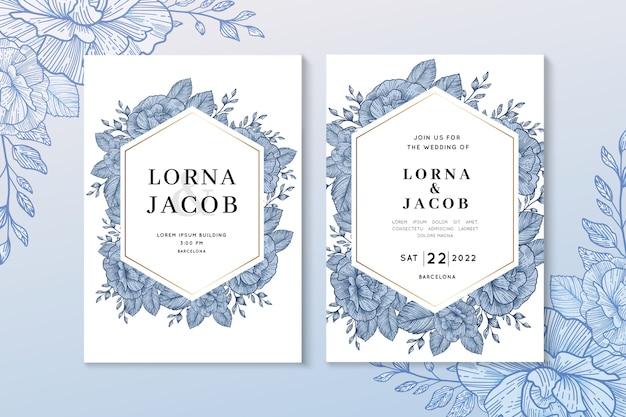 Plantilla de invitación de boda floral azul