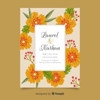 Plantilla de invitación de boda floral colorido