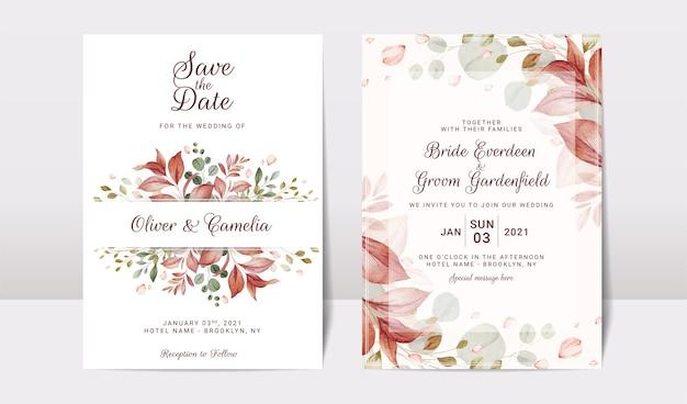 Plantilla de invitación de boda floral con decoración de flores y hojas. concepto de diseño de tarjeta botánica
