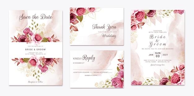 Plantilla de invitación de boda floral con decoración de flores y hojas de rosas color burdeos y marrón dorado. concepto de diseño de tarjeta botánica