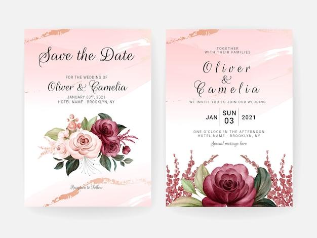 Plantilla de invitación de boda floral con decoración de flores y hojas de rosas de color burdeos y melocotón. concepto de diseño de tarjeta botánica