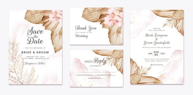 Plantilla de invitación de boda floral con decoración de flores y hojas de rosas marrones y melocotón. concepto de diseño de tarjeta botánica