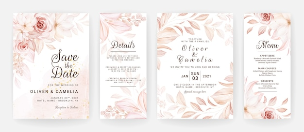 Plantilla de invitación de boda floral con decoración de flores y hojas de rosas marrones.