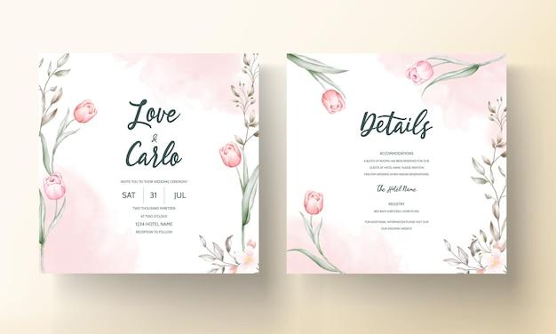 Plantilla de invitación de boda floral con decoración de hojas y flores de color marrón y melocotón