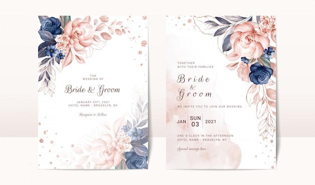 Plantilla de invitación de boda floral con decoración de rosas y hojas de acuarela azul marino y melocotón. concepto de diseño de tarjeta botánica