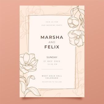 Plantilla de invitación de boda floral dibujada a mano de grabado