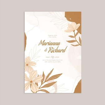 Plantilla de invitación de boda floral dibujada a mano